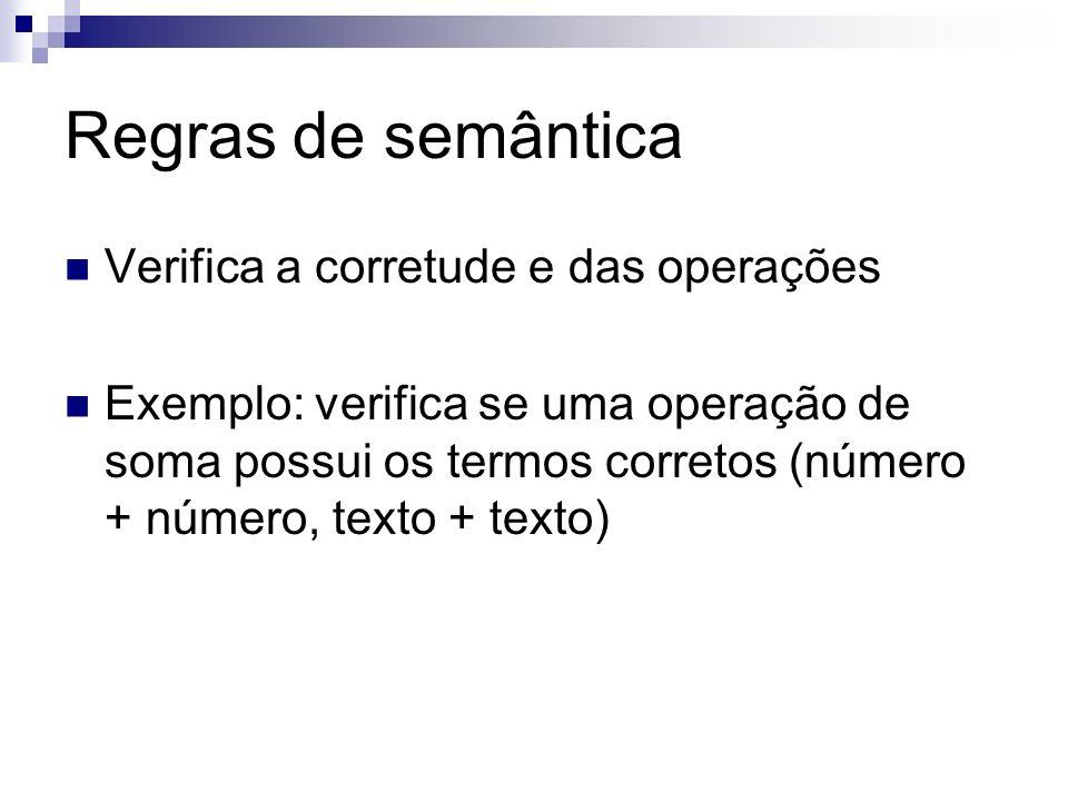 Regras de semântica Verifica a corretude e das operações