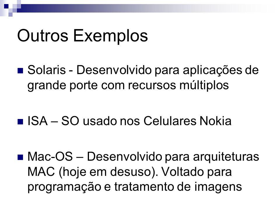 Outros Exemplos Solaris - Desenvolvido para aplicações de grande porte com recursos múltiplos. ISA – SO usado nos Celulares Nokia.
