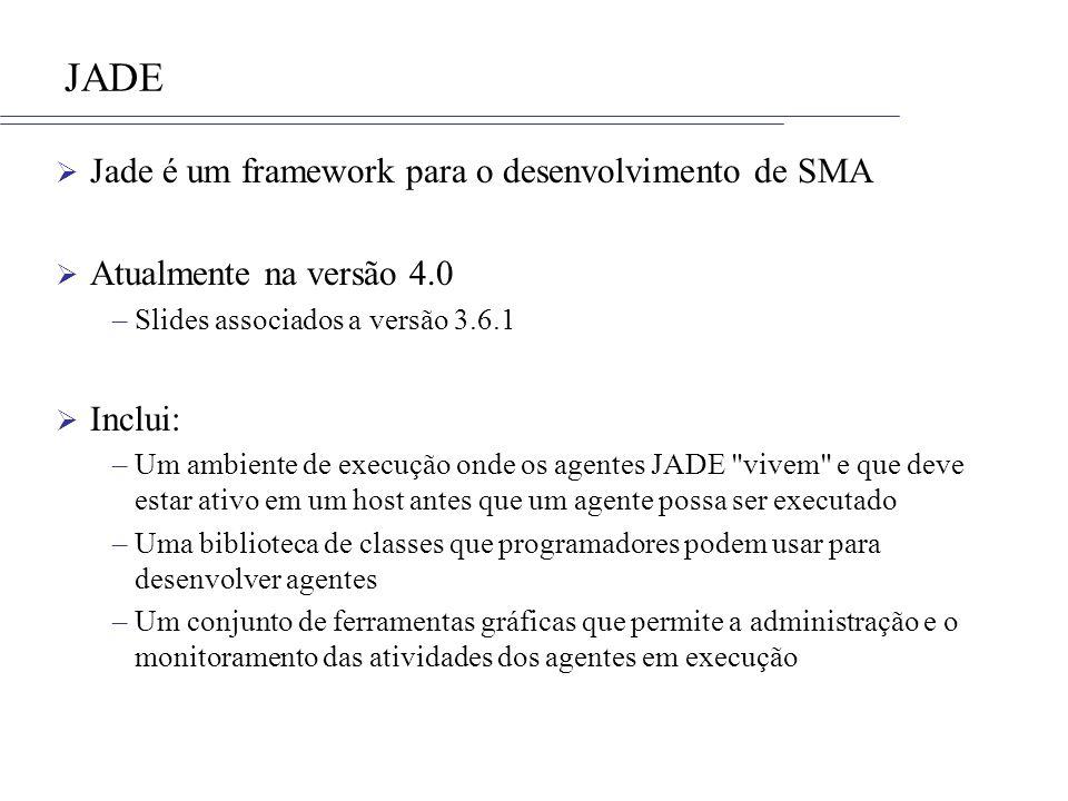 JADE Jade é um framework para o desenvolvimento de SMA