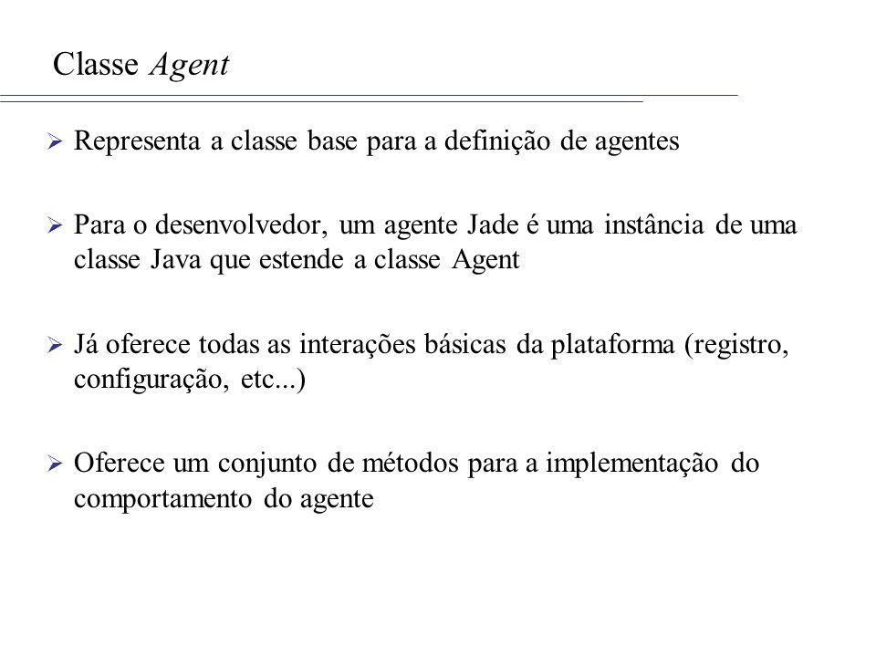Classe Agent Representa a classe base para a definição de agentes