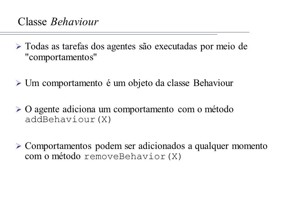Classe Behaviour Todas as tarefas dos agentes são executadas por meio de comportamentos Um comportamento é um objeto da classe Behaviour.