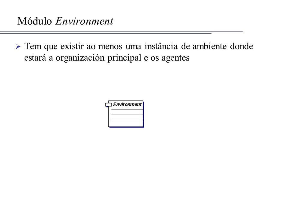 Módulo Environment Tem que existir ao menos uma instância de ambiente donde estará a organización principal e os agentes.