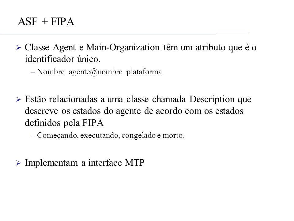 ASF + FIPA Classe Agent e Main-Organization têm um atributo que é o identificador único. Nombre_agente@nombre_plataforma.