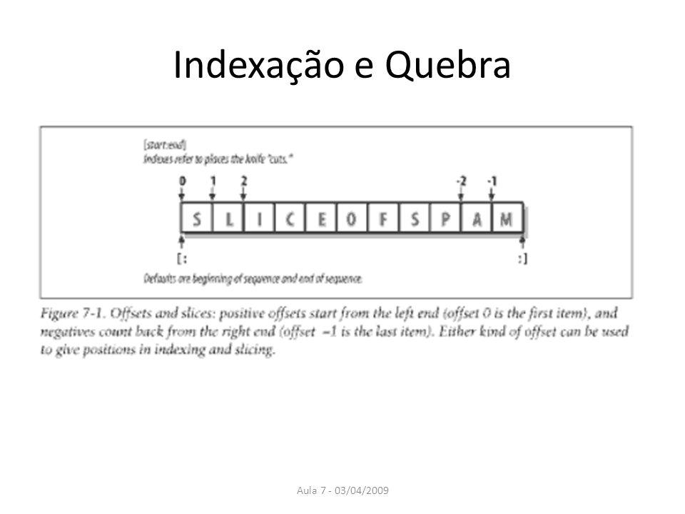 Indexação e Quebra Aula 7 - 03/04/2009