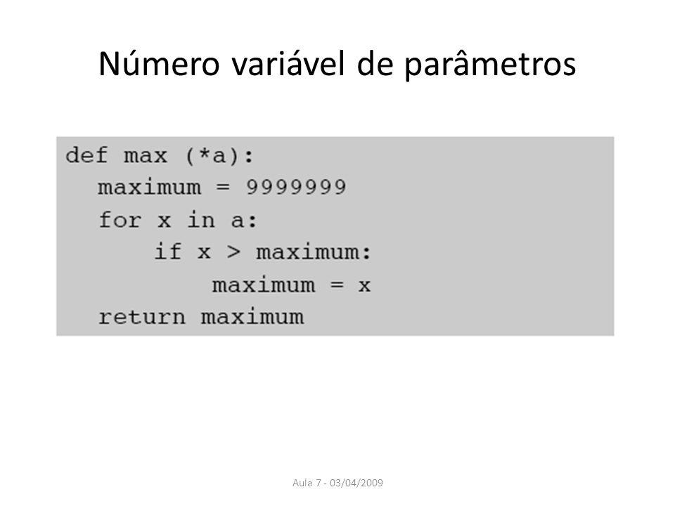 Número variável de parâmetros