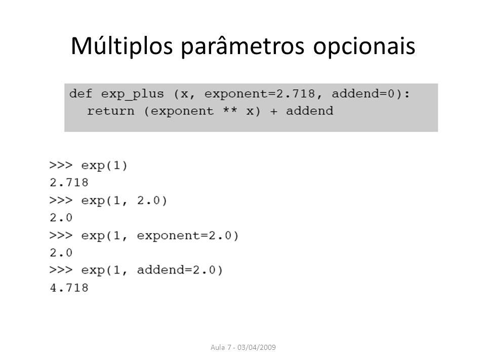 Múltiplos parâmetros opcionais