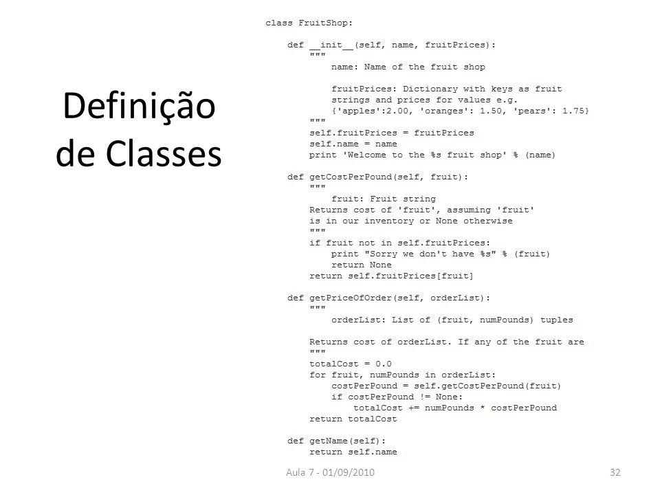 Definição de Classes Aula 7 - 01/09/2010