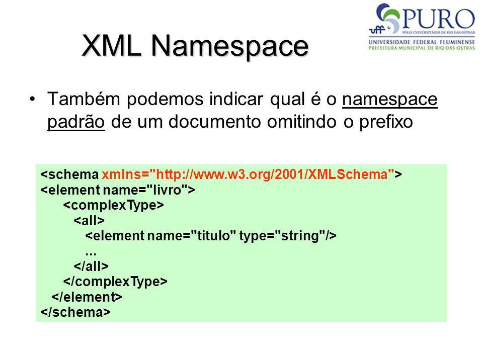 XML NamespaceTambém podemos indicar qual é o namespace padrão de um documento omitindo o prefixo.