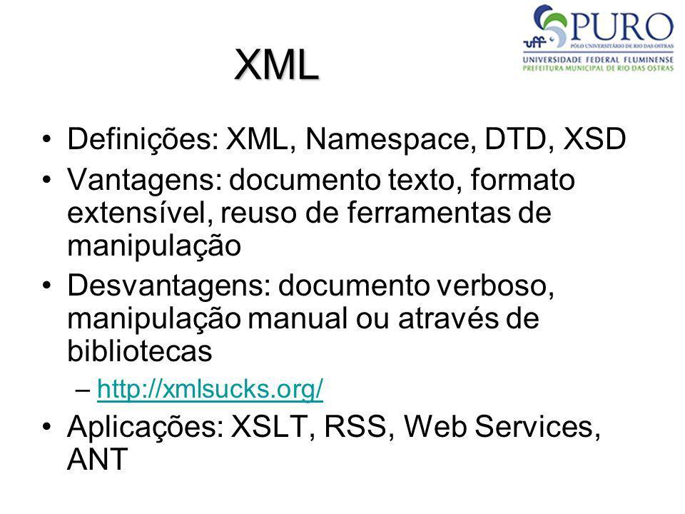 XML Definições: XML, Namespace, DTD, XSD