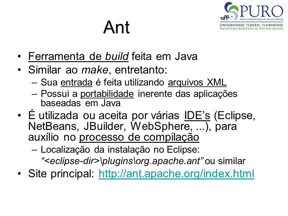 Ant Ferramenta de build feita em Java Similar ao make, entretanto: