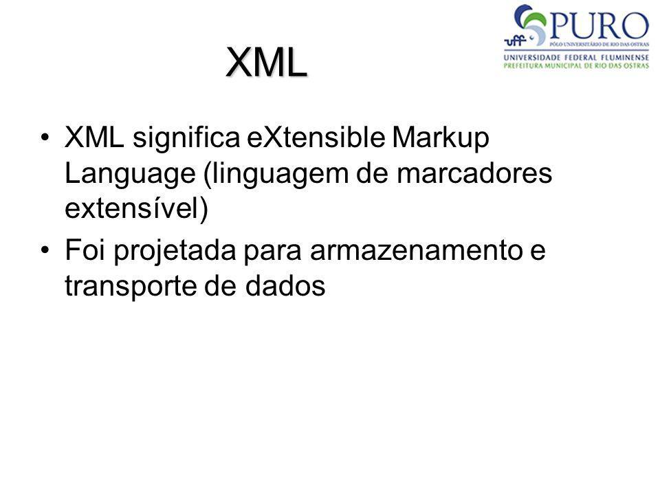 XML XML significa eXtensible Markup Language (linguagem de marcadores extensível) Foi projetada para armazenamento e transporte de dados.