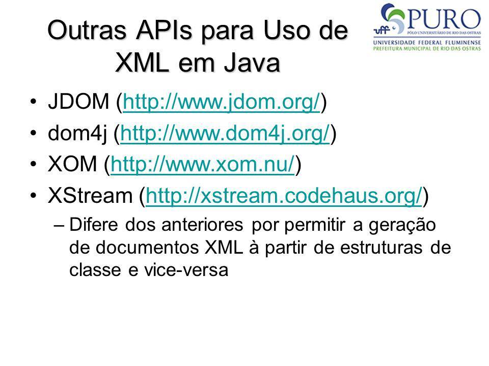 Outras APIs para Uso de XML em Java