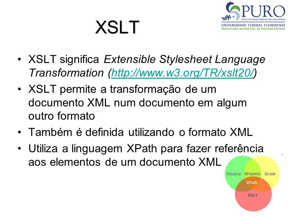 XSLTXSLT significa Extensible Stylesheet Language Transformation (http://www.w3.org/TR/xslt20/)