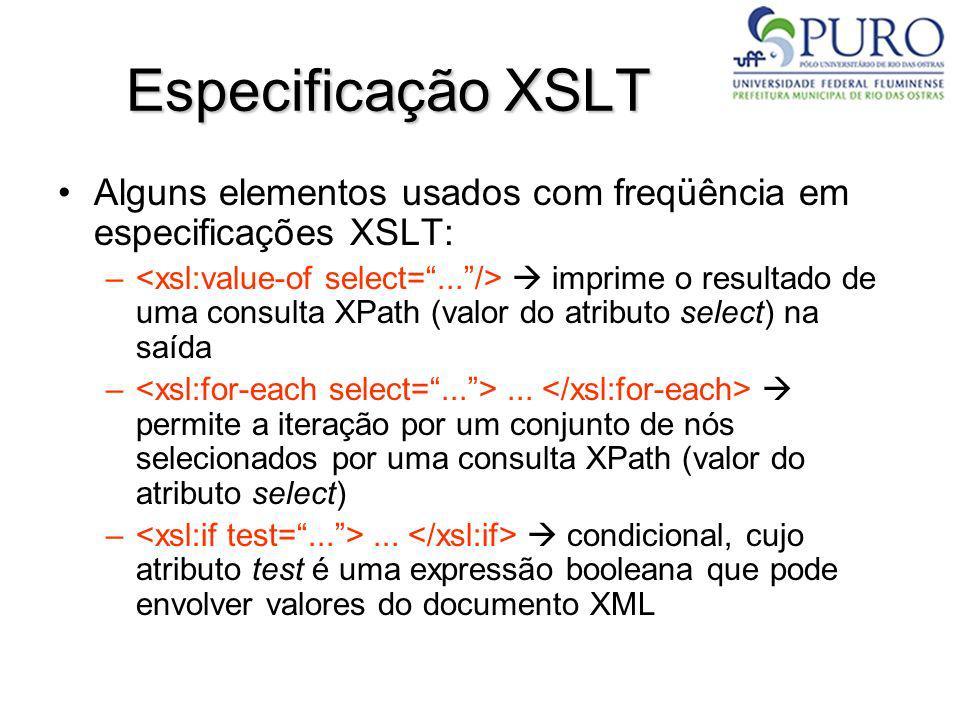 Especificação XSLT Alguns elementos usados com freqüência em especificações XSLT: