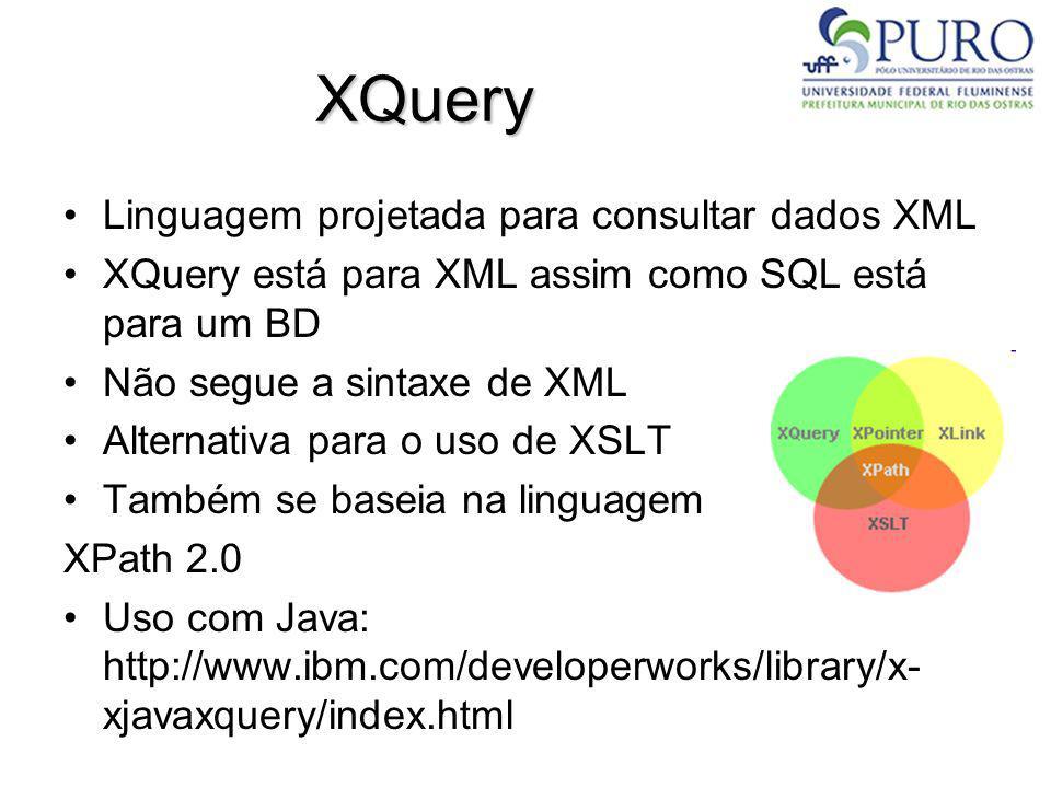 XQuery Linguagem projetada para consultar dados XML
