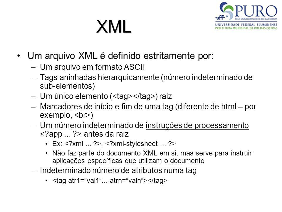 XML Um arquivo XML é definido estritamente por: