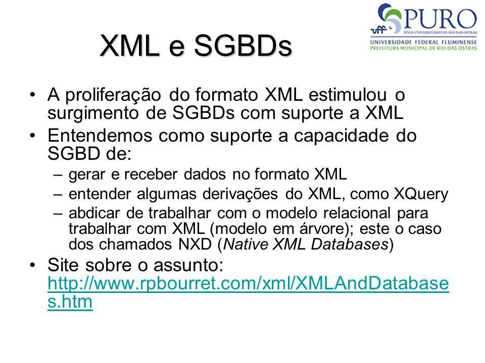 XML e SGBDs A proliferação do formato XML estimulou o surgimento de SGBDs com suporte a XML. Entendemos como suporte a capacidade do SGBD de:
