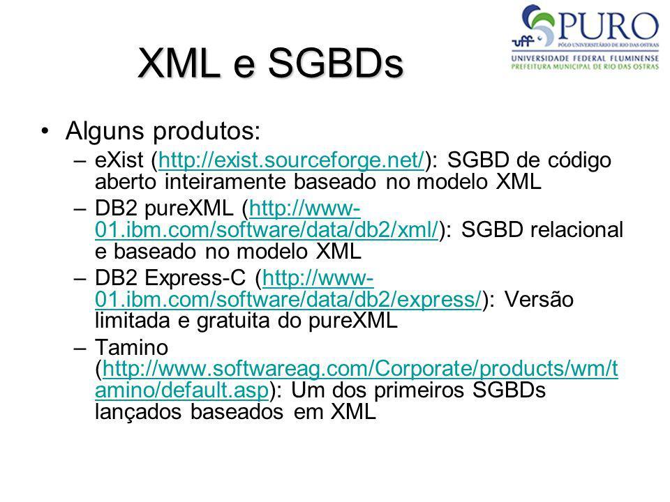XML e SGBDs Alguns produtos:
