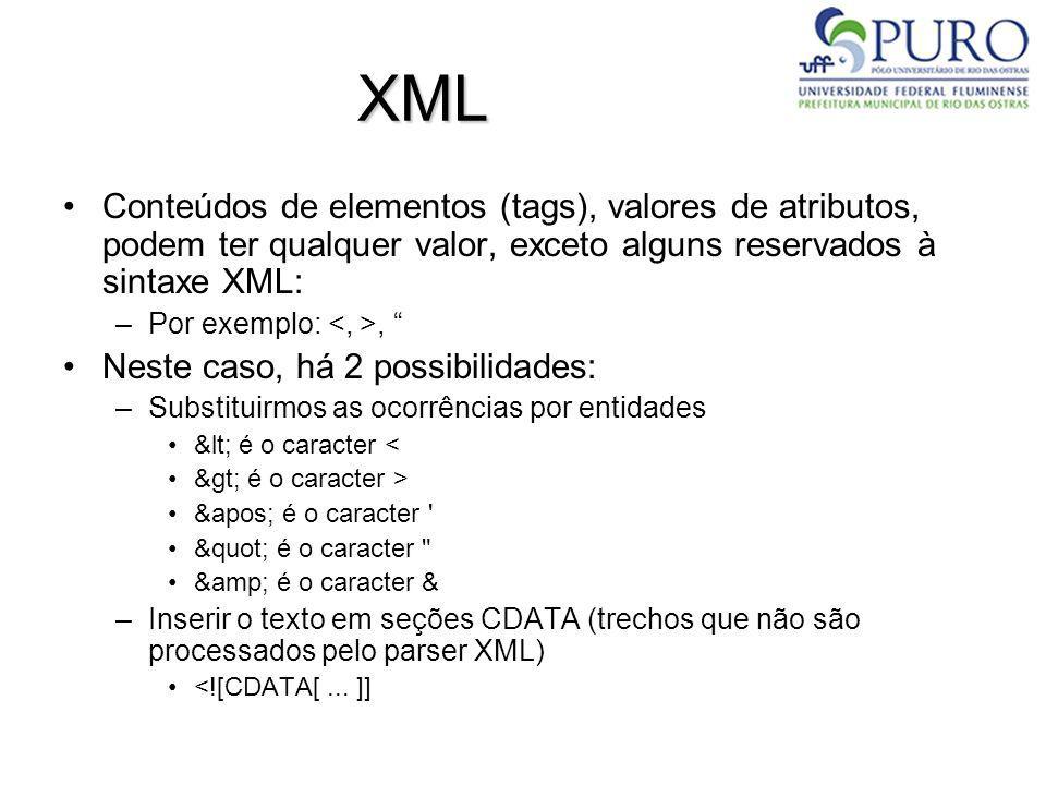 XML Conteúdos de elementos (tags), valores de atributos, podem ter qualquer valor, exceto alguns reservados à sintaxe XML: