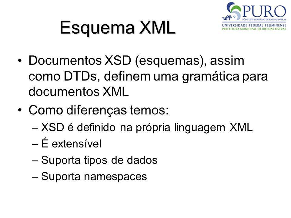 Esquema XML Documentos XSD (esquemas), assim como DTDs, definem uma gramática para documentos XML. Como diferenças temos: