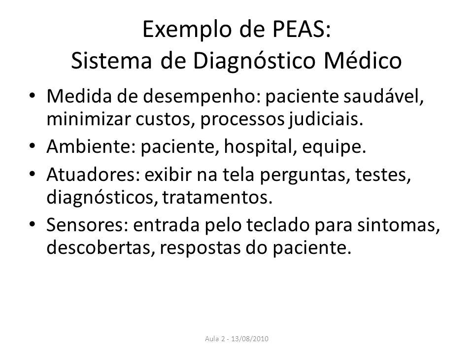 Exemplo de PEAS: Sistema de Diagnóstico Médico