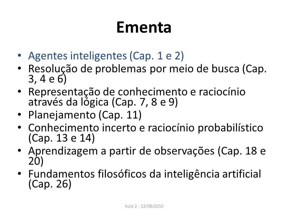 Ementa Agentes inteligentes (Cap. 1 e 2)