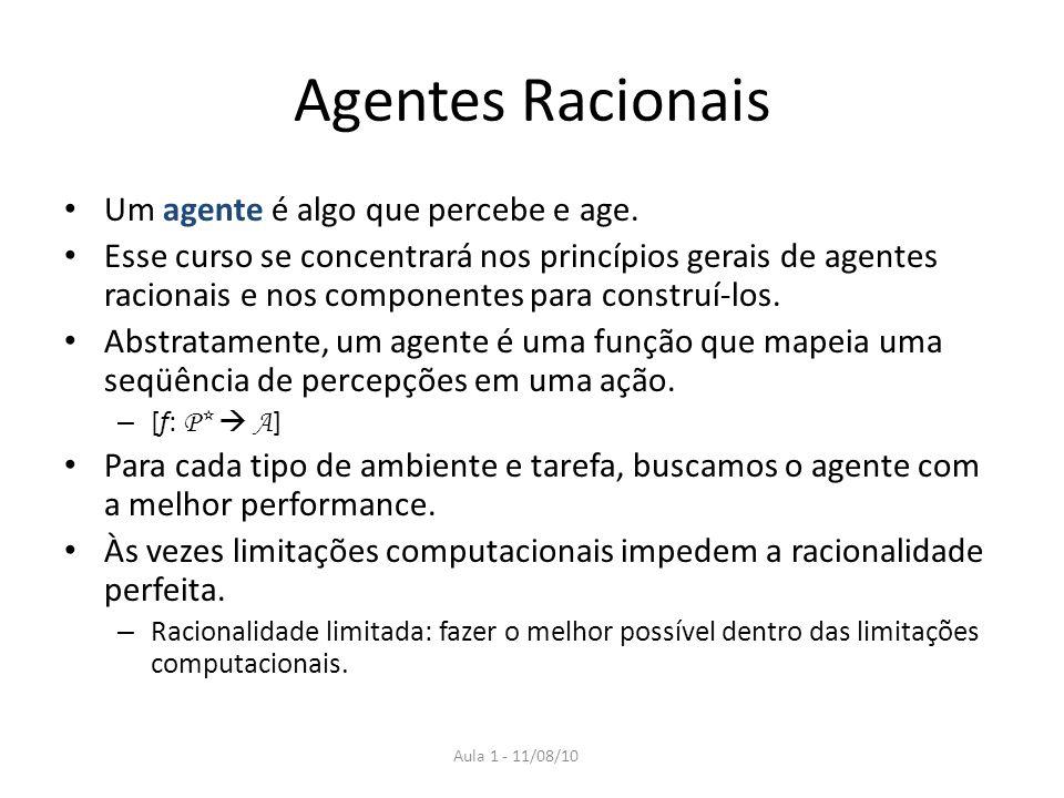 Agentes Racionais Um agente é algo que percebe e age.