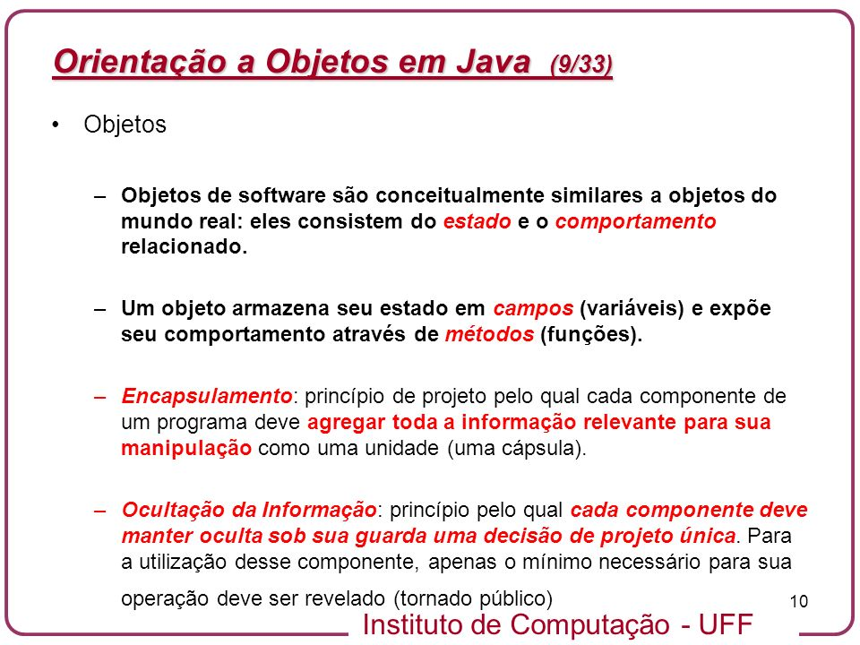 Orientação a Objetos em Java (9/33)