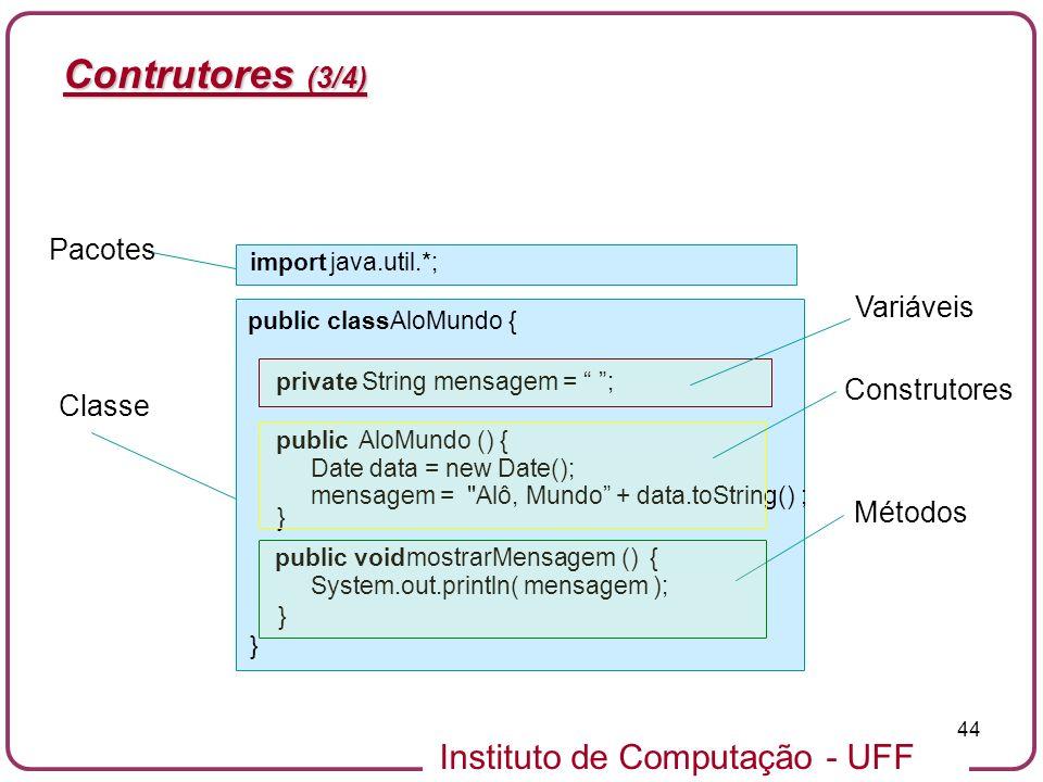Contrutores (3/4) Pacotes Variáveis Construtores Classe Métodos import