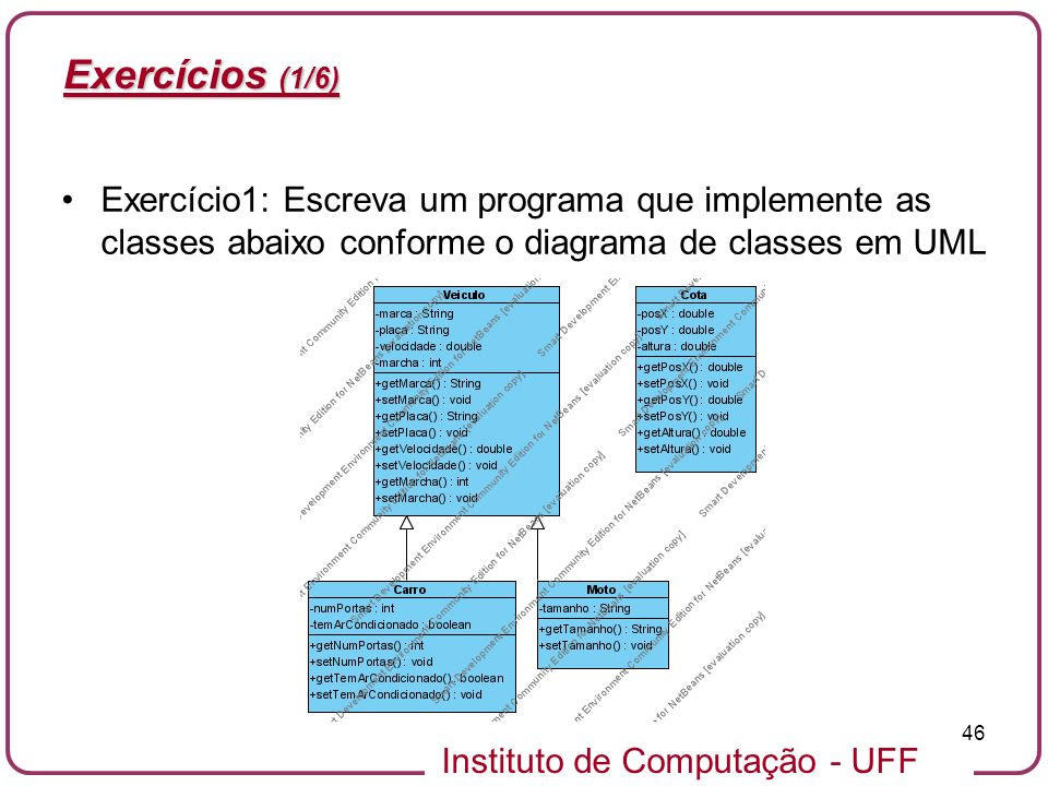 Exercícios (1/6) Exercício1: Escreva um programa que implemente as classes abaixo conforme o diagrama de classes em UML.