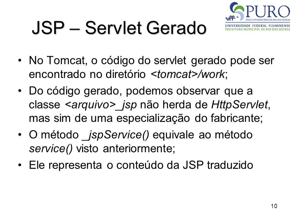 JSP – Servlet Gerado No Tomcat, o código do servlet gerado pode ser encontrado no diretório <tomcat>/work;