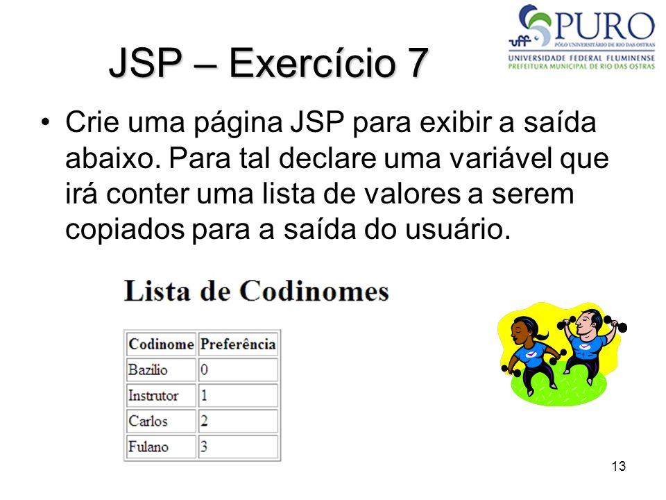 JSP – Exercício 7