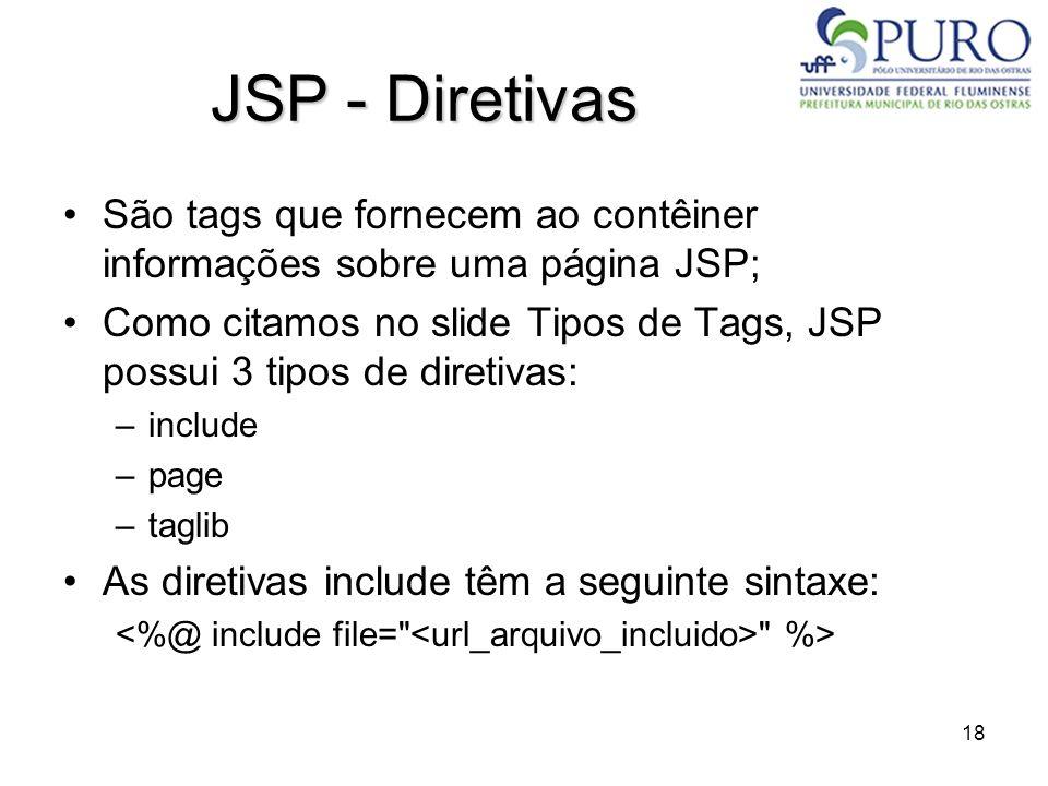 JSP - Diretivas São tags que fornecem ao contêiner informações sobre uma página JSP;