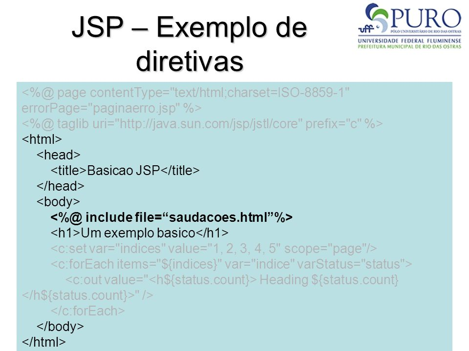 JSP – Exemplo de diretivas