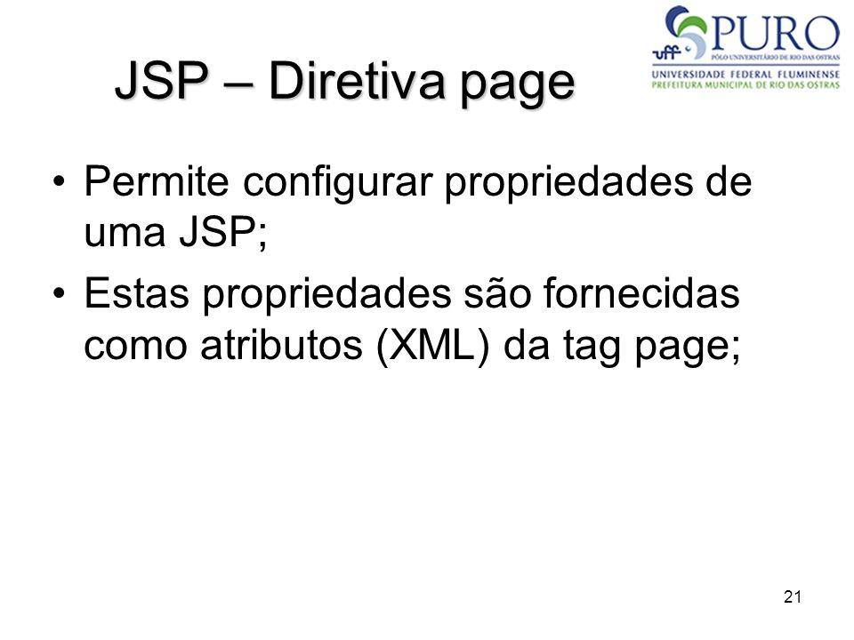 JSP – Diretiva page Permite configurar propriedades de uma JSP;