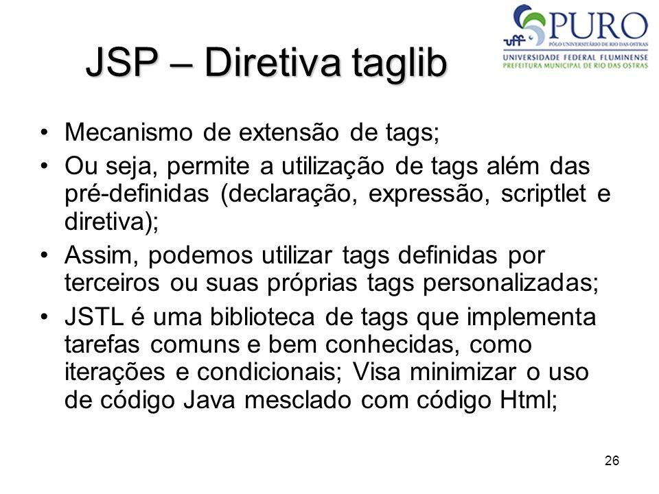 JSP – Diretiva taglib Mecanismo de extensão de tags;