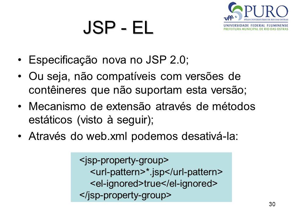 JSP - EL Especificação nova no JSP 2.0;