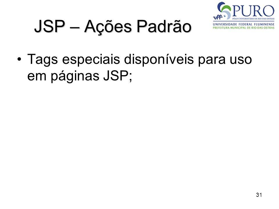 JSP – Ações Padrão Tags especiais disponíveis para uso em páginas JSP;