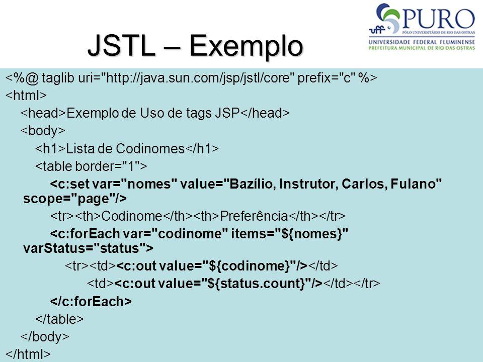 JSTL – Exemplo <%@ taglib uri= http://java.sun.com/jsp/jstl/core prefix= c %> <html> <head>Exemplo de Uso de tags JSP</head>