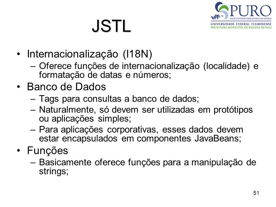 JSTL Internacionalização (I18N) Banco de Dados Funções