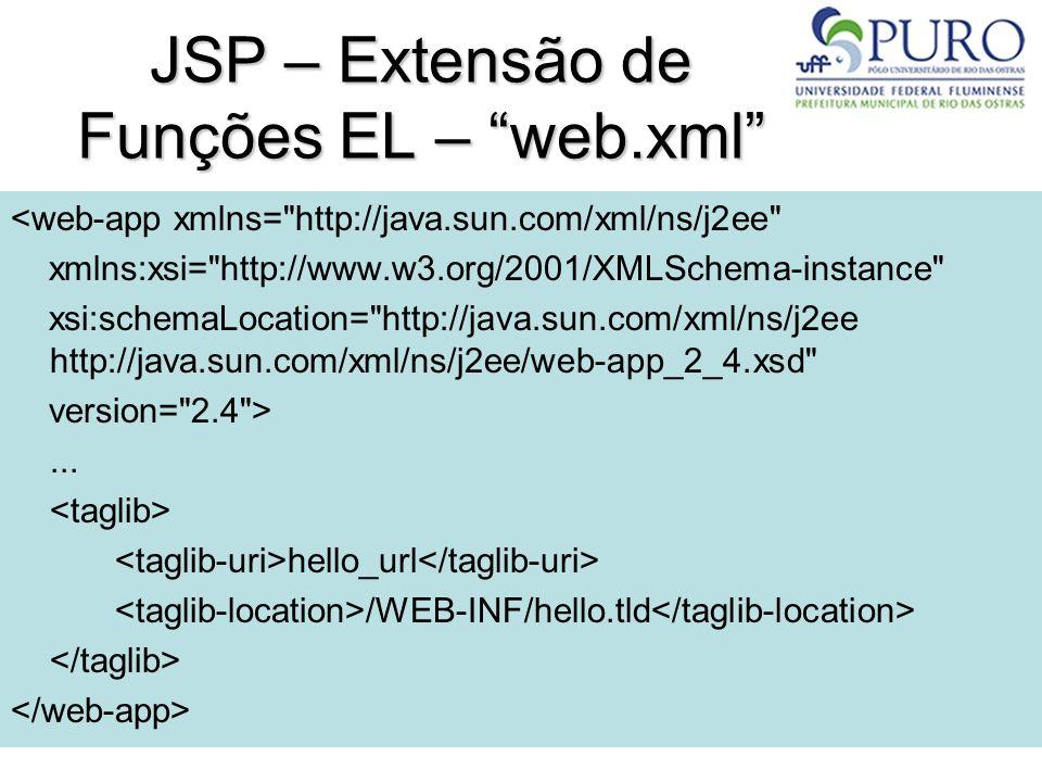 JSP – Extensão de Funções EL – web.xml