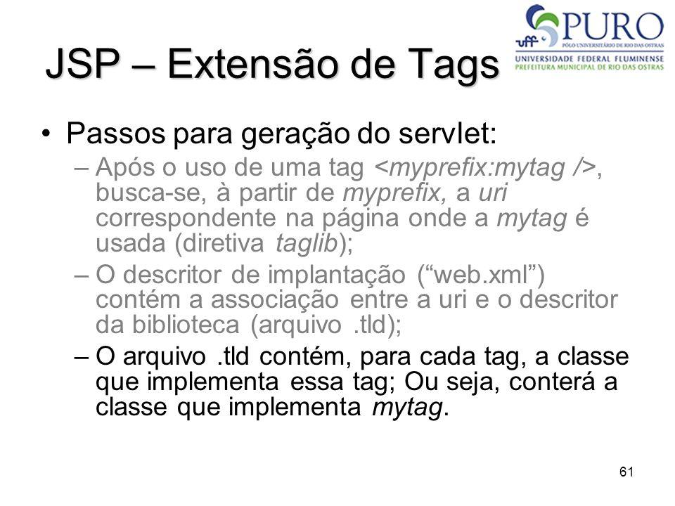 JSP – Extensão de Tags Passos para geração do servlet: