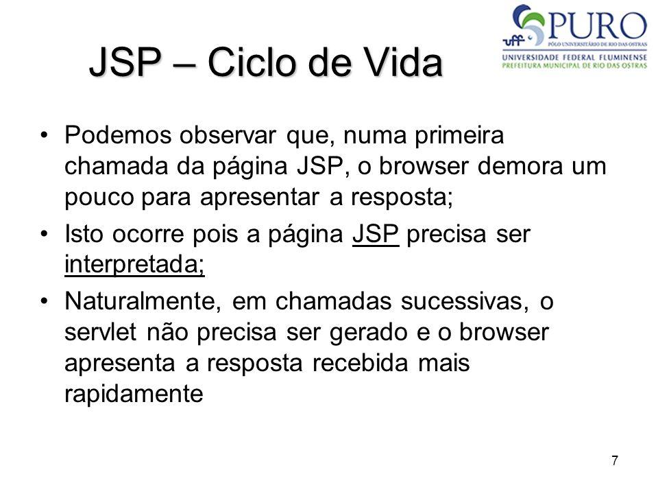 JSP – Ciclo de Vida Podemos observar que, numa primeira chamada da página JSP, o browser demora um pouco para apresentar a resposta;