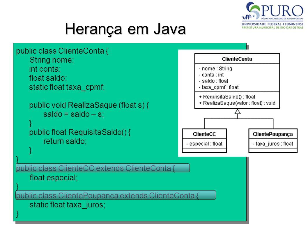 Herança em Java public class ClienteConta { String nome; int conta;