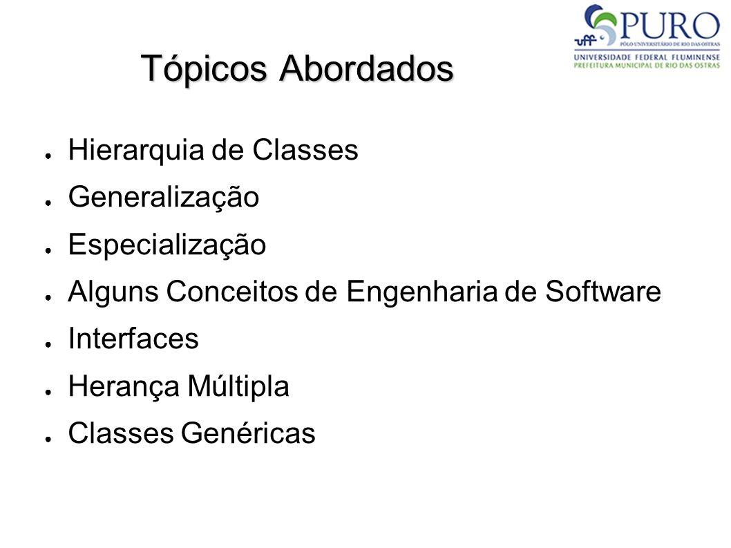Tópicos Abordados Hierarquia de Classes Generalização Especialização