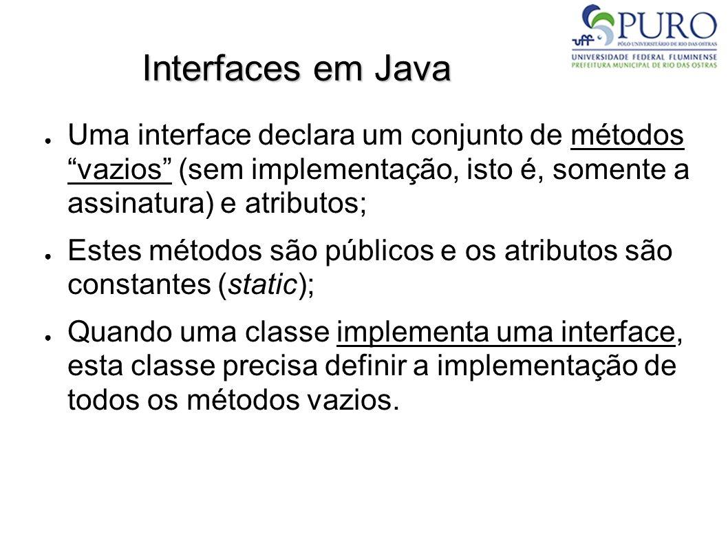 Interfaces em Java Uma interface declara um conjunto de métodos vazios (sem implementação, isto é, somente a assinatura) e atributos;