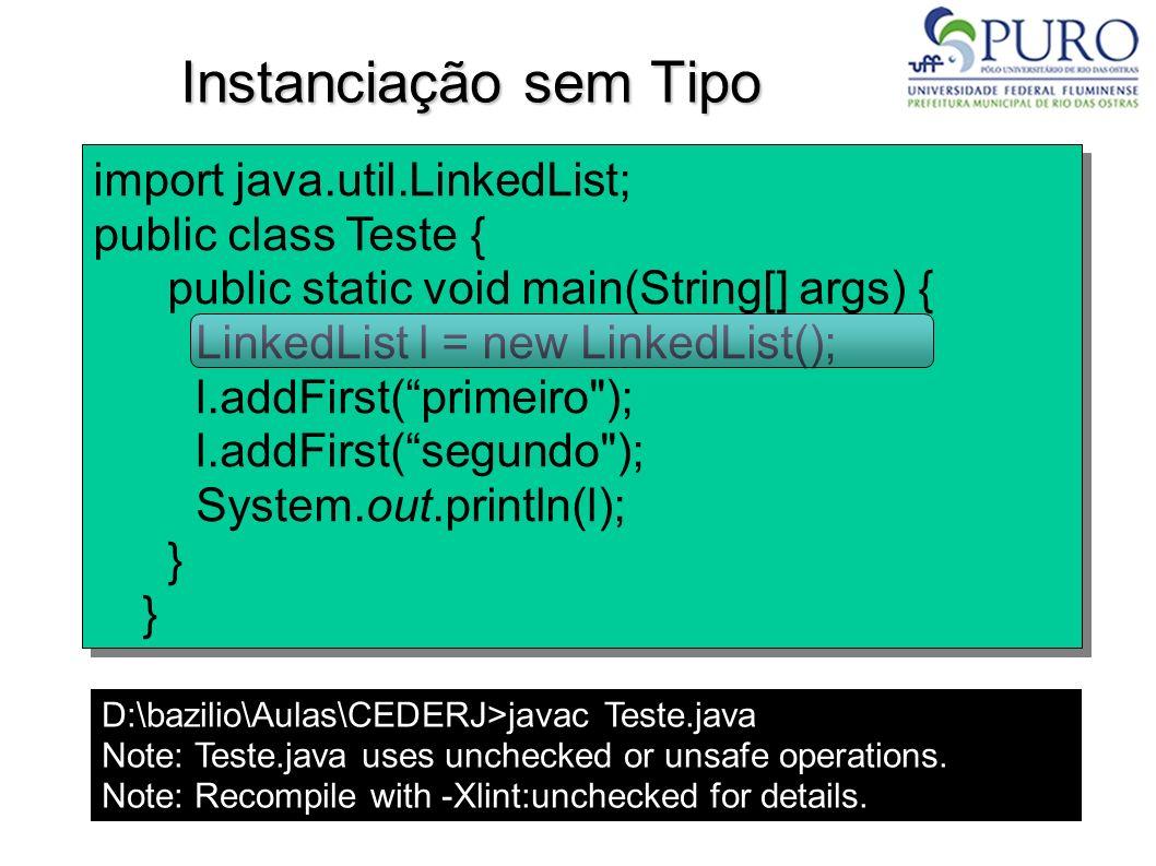 Instanciação sem Tipo import java.util.LinkedList;
