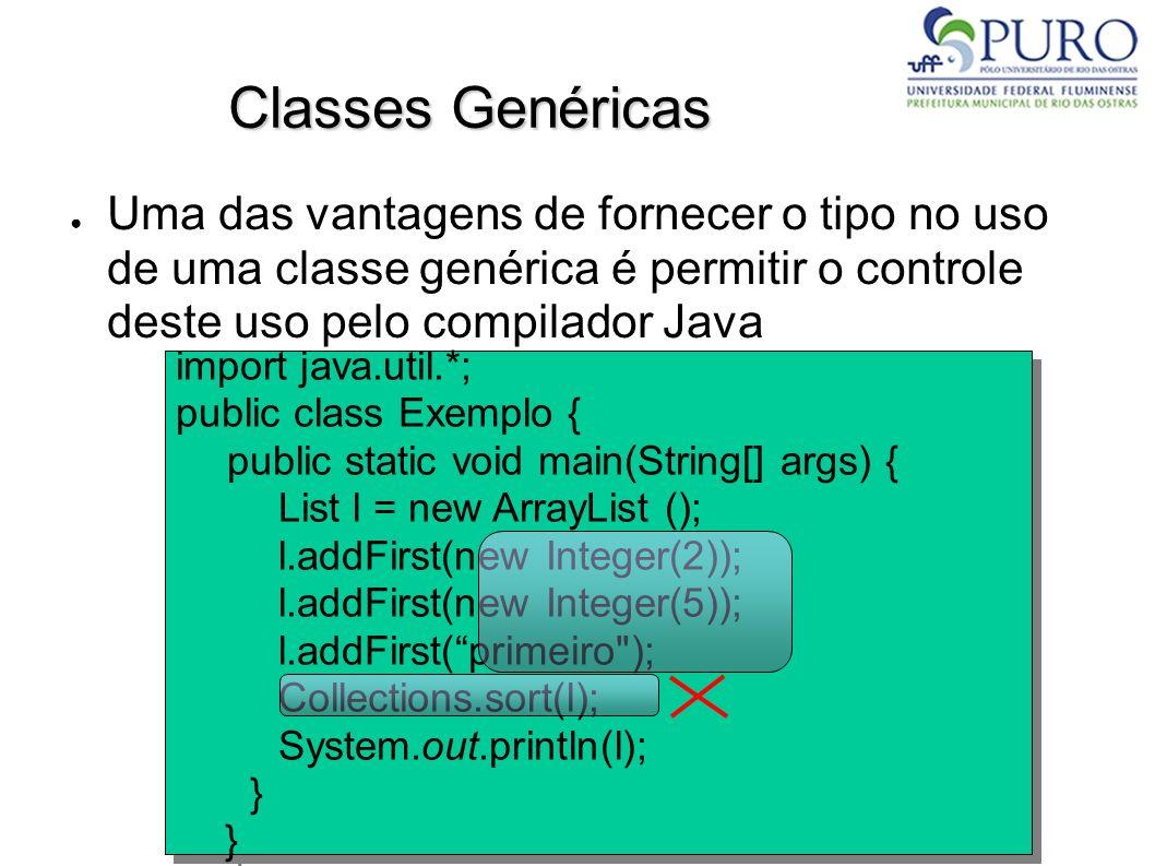 Classes Genéricas Uma das vantagens de fornecer o tipo no uso de uma classe genérica é permitir o controle deste uso pelo compilador Java.