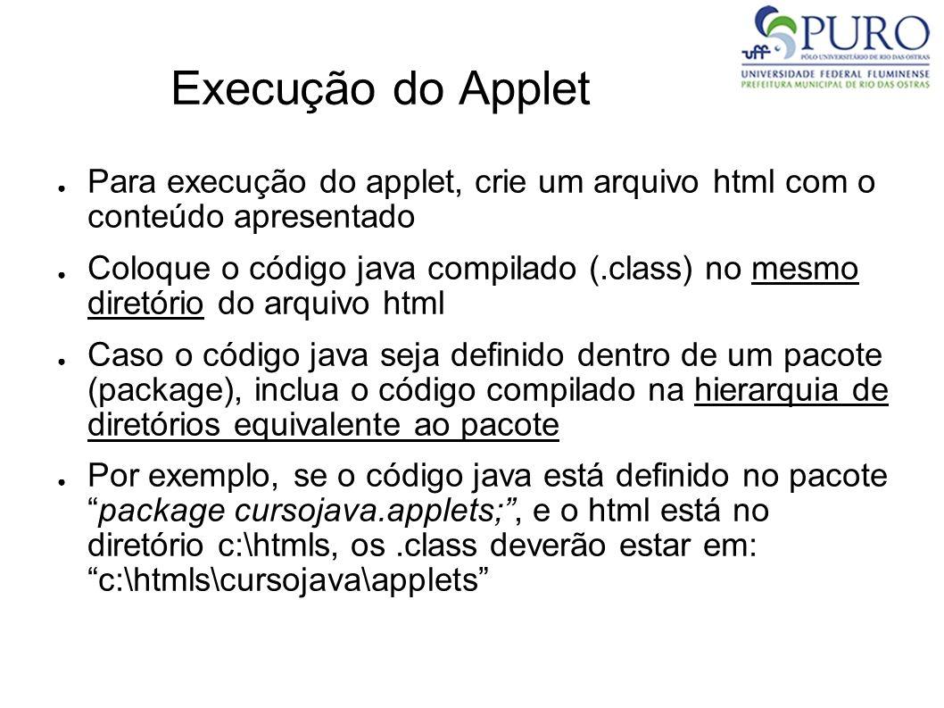 Execução do Applet Para execução do applet, crie um arquivo html com o conteúdo apresentado.