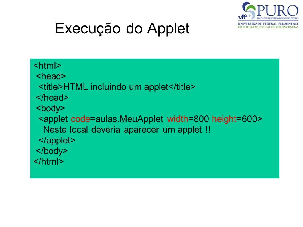 Execução do Applet <html> <head>